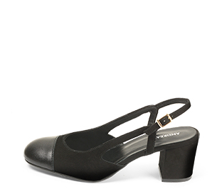 Ref. 4544 Zapato combinado en ante negro y puntera en piel negra. Destalonada con pulsera y hebilla dorada. Altura tacón 6.5 cm y sin plataforma delantera. - Ítem1