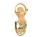 Ref. 4547 Sandalia piel oro con pala cruzada y pulsera al tobillo. Hebilla dorada. Altura tacón 10.5 cm y plataforma delantera 3 cm. - Ítem2