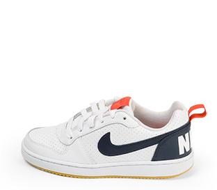 Ref. 4559 Nike piel blanca con detalle simbolo y parte trasera en azul marino. Detalles en rojo. Cordones blancos.