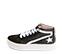 Ref. 4571 Sneaker abotinada serraje gris con glitter al tono. Cordones blancos. Detalles lateral en piel blanca. Plataforma blanca de 4 cm. Altura de caña 8 cm. - Ítem3