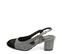 Ref. 4579 Zapato combinado en franela gris y puntera en ante negro. Destalonada con pulsera y hebilla dorada. Altura tacón 6.5 cm y sin plataforma delantera. - Ítem3