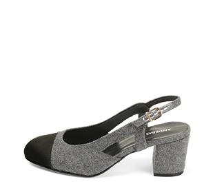 Ref. 4579 Zapato combinado en franela gris y puntera en ante negro. Destalonada con pulsera y hebilla dorada. Altura tacón 6.5 cm y sin plataforma delantera.