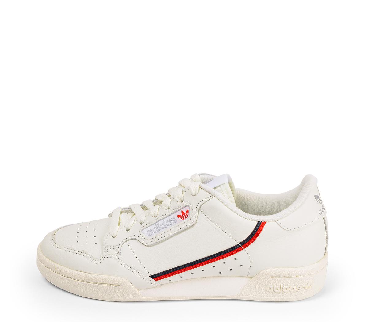 Ref. 4581 Adidas Continental piel beige con detalle banda lateral en azul y rojo.