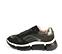 Ref. 4587 Sneaker combinada en serraje y tela negro. Cordones al tono. Detalles metalizados. Suela de goma en blanco y negro. - Ítem3