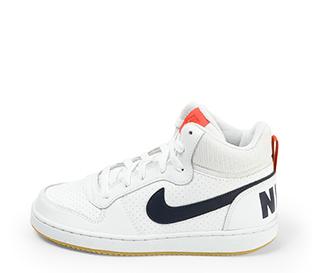 Ref. 4604 Nike piel blanca abotinada con detalle simbolo y parte trasera en azul marino. Detalles en rojo. Cordones blancos.