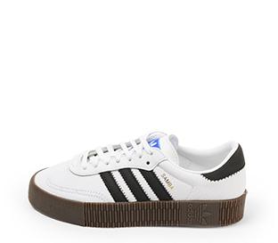 Ref. 4631 Adidas Sambarose piel blanca con detalles en piel negro. Altura plataforma 3 cm. Cordones blancos. Suela de goma marrón. - Ítem1