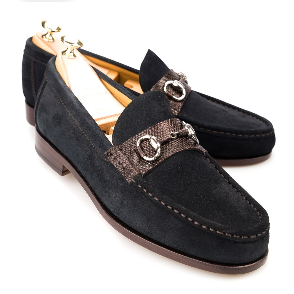 SUEDE AND LIZARD LOAFERS 80294