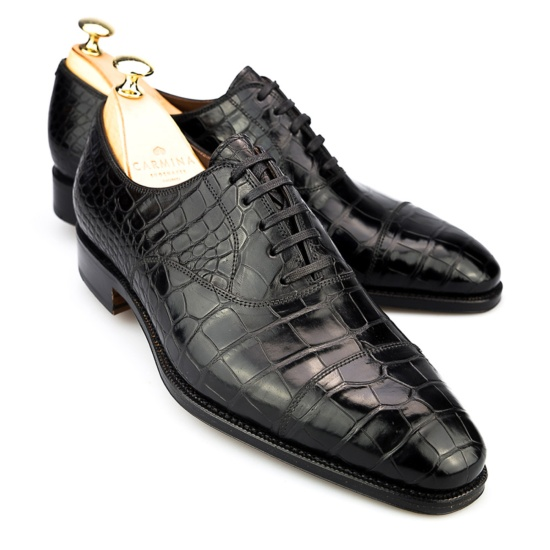 Captoe Oxford In Black Alligator Carmina