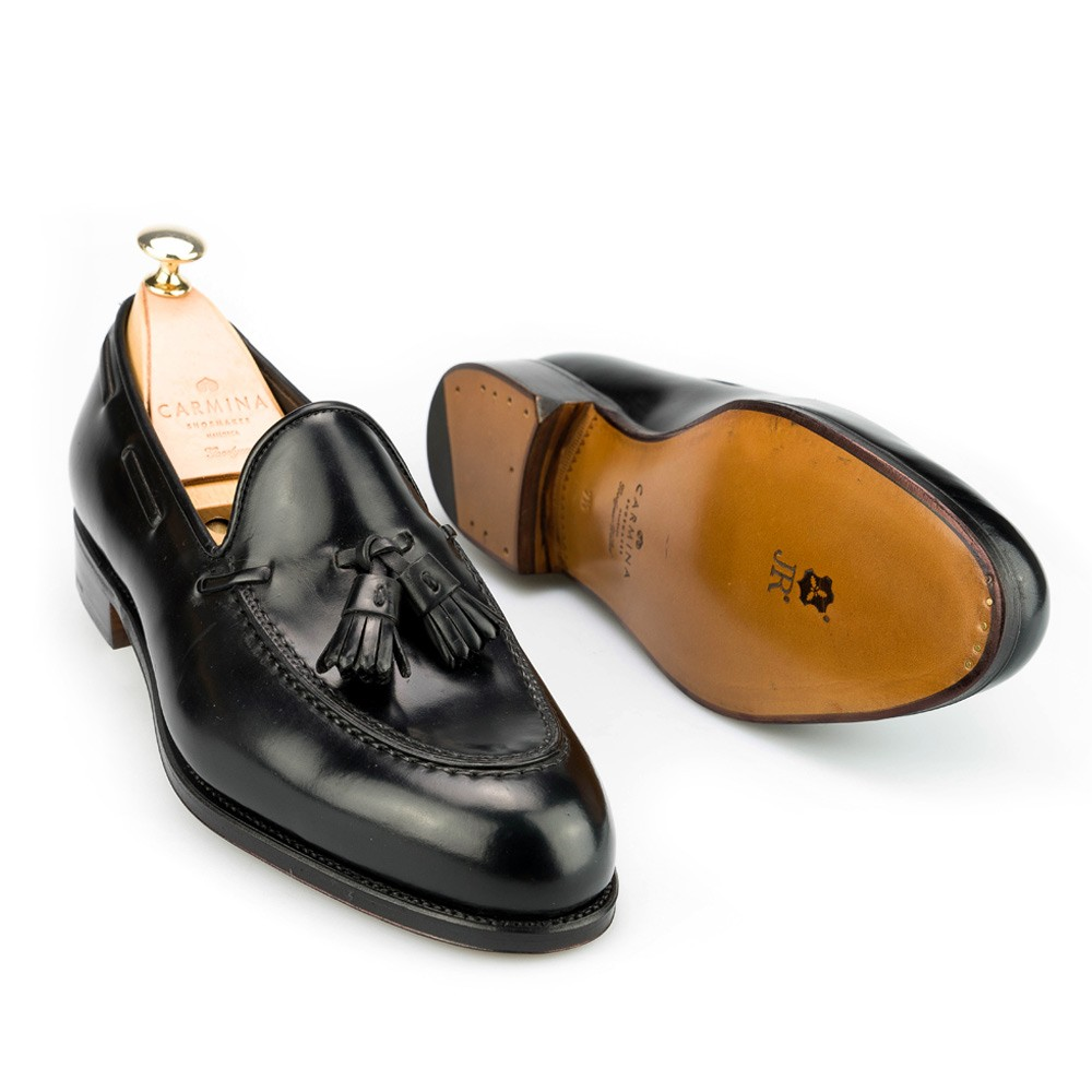 Black cordovan tassel loafers