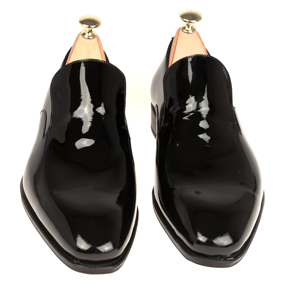BLACK PATENT SLIPPERS 10081 RAIN