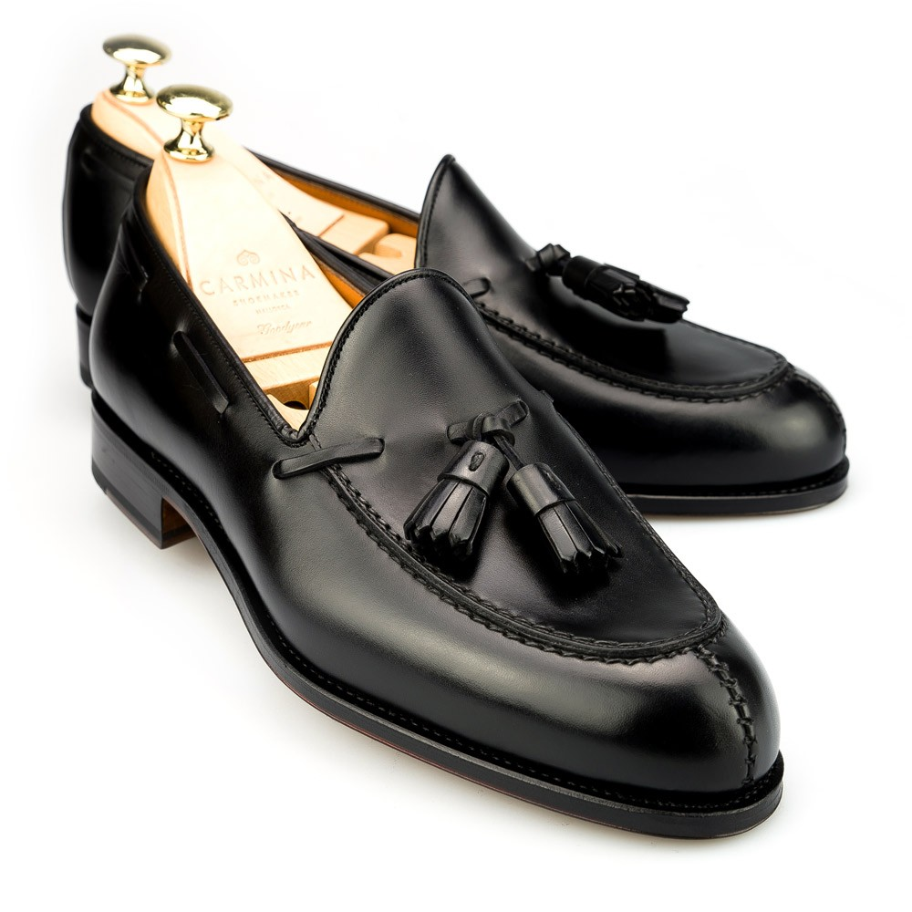 ee4ff99b49 Tassel Black Calf Dress Loafers | CARMINA Shoemaker