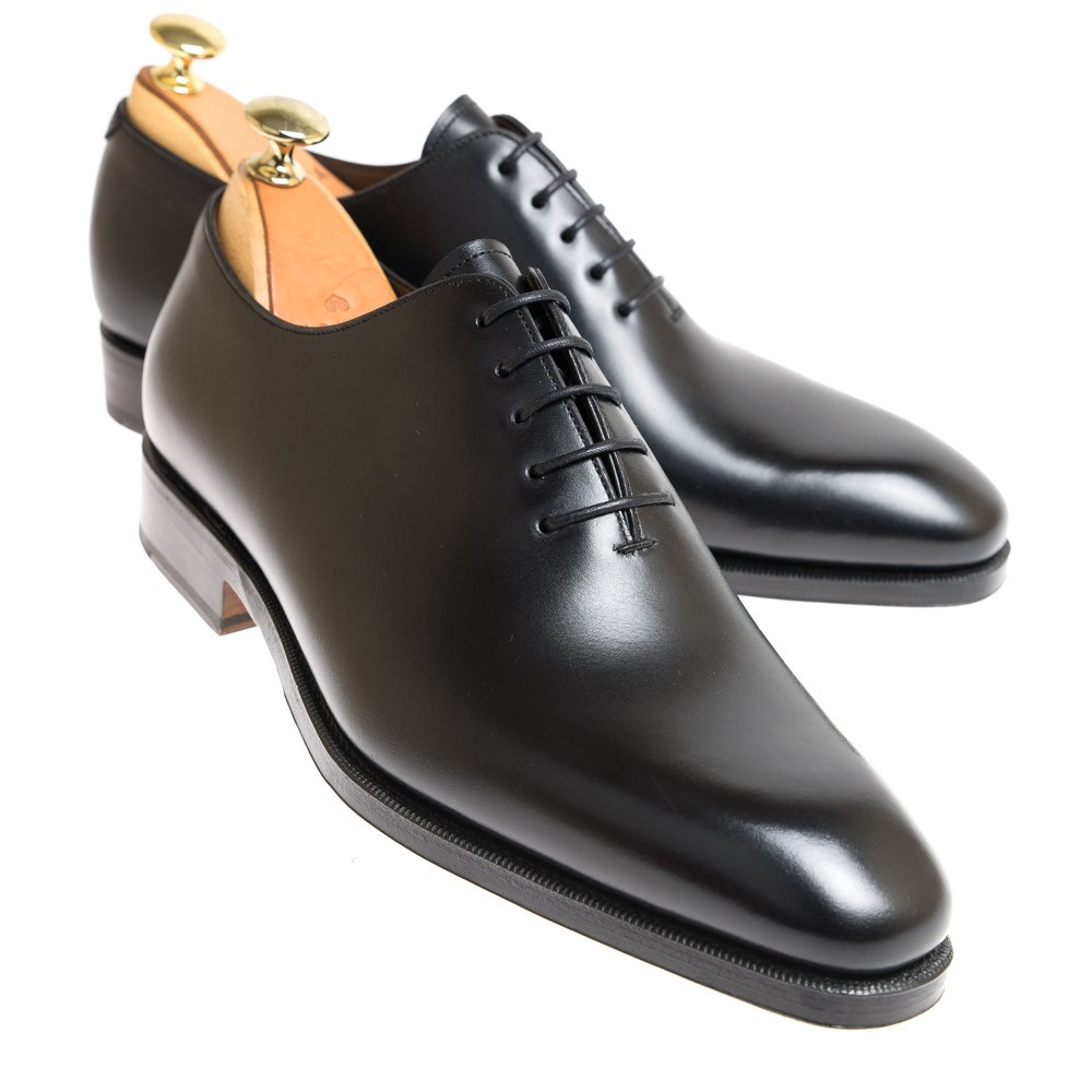 Black Wholecut Rain Oxford Shoes Carmina