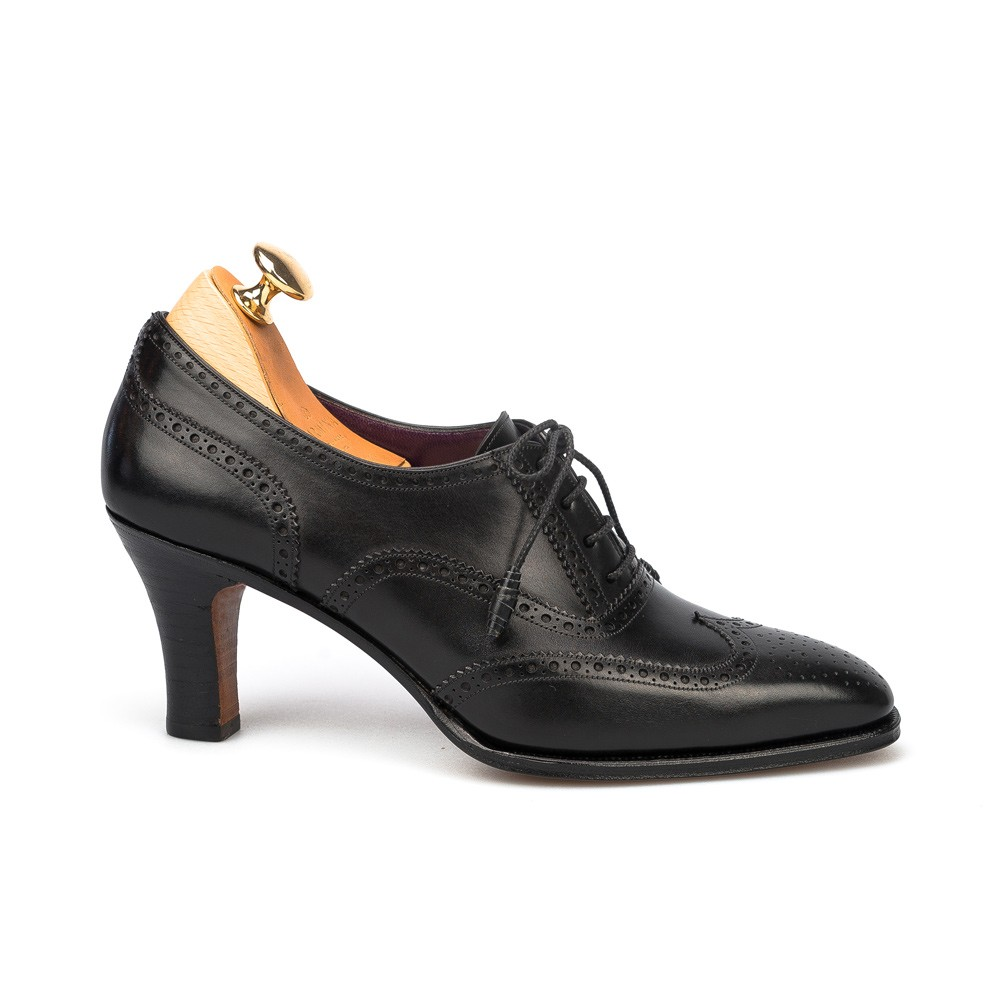 high heel oxford shoes in black leather