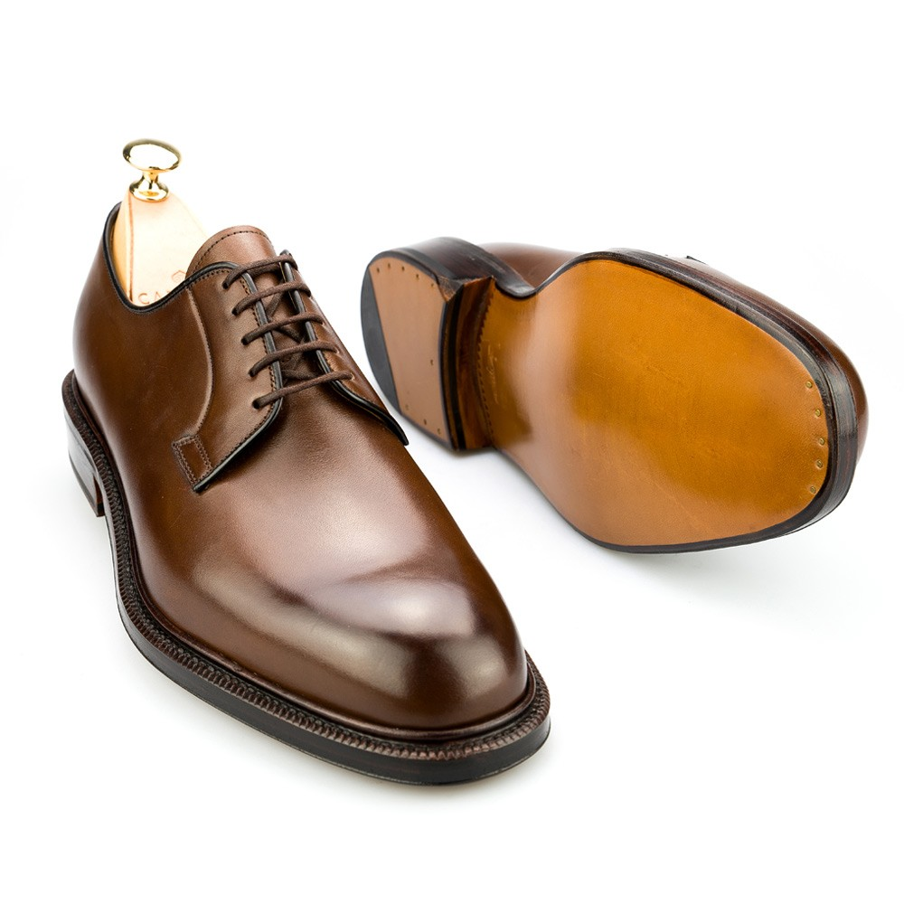 PLAIN TOE DERBY SHOES IN BROWN CARMINA 531