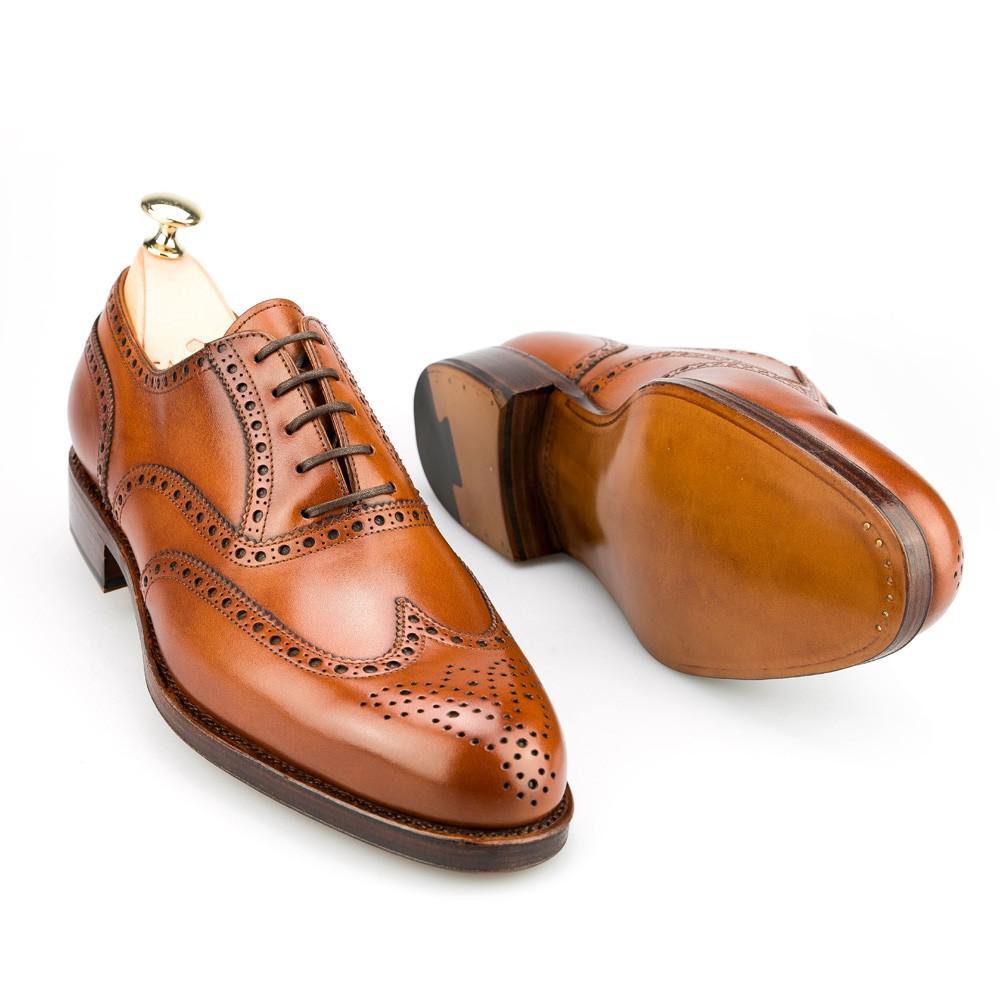 Mens Cognac Wingtip Shoes
