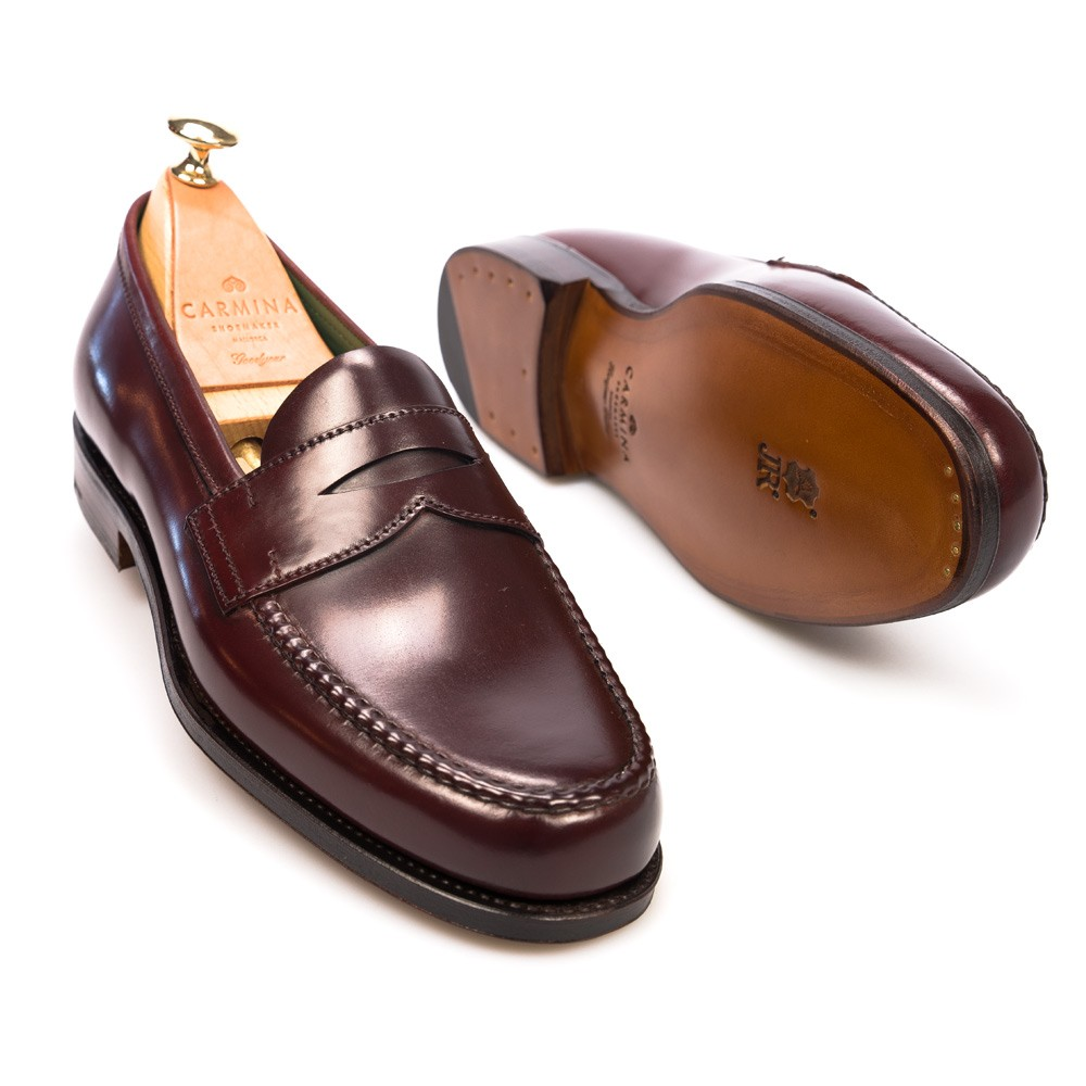 Burgundy penny loafers