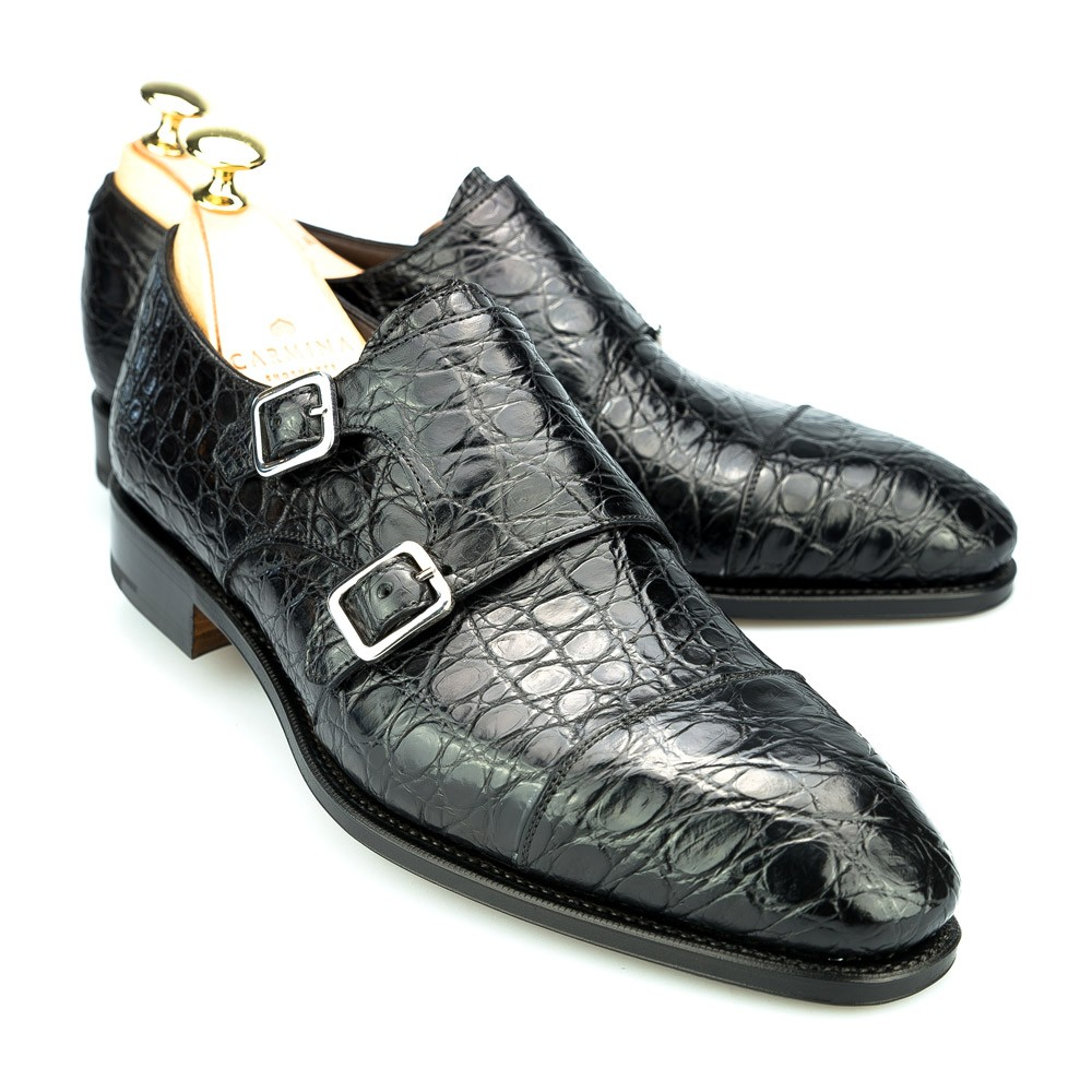 DOUBLE MONK STRAP SHOES IN BLACK CROCODILE | CARMINA