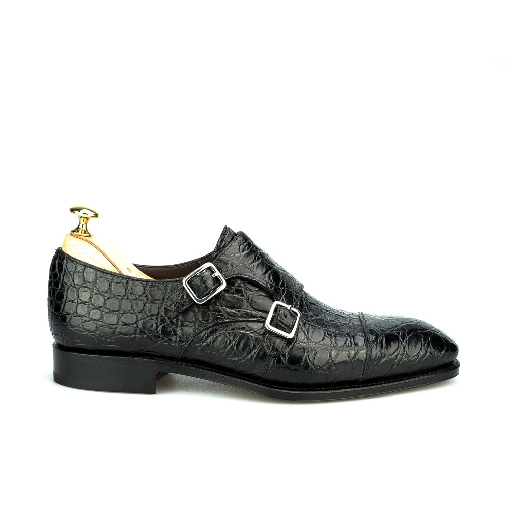 Crocodile monk straps shoes