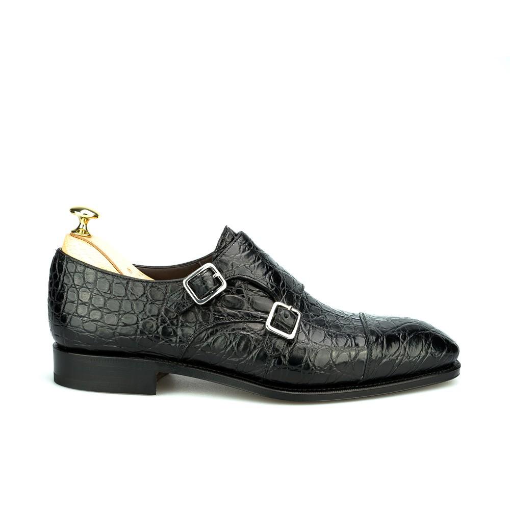 zapato doble hebilla de cocodrlo