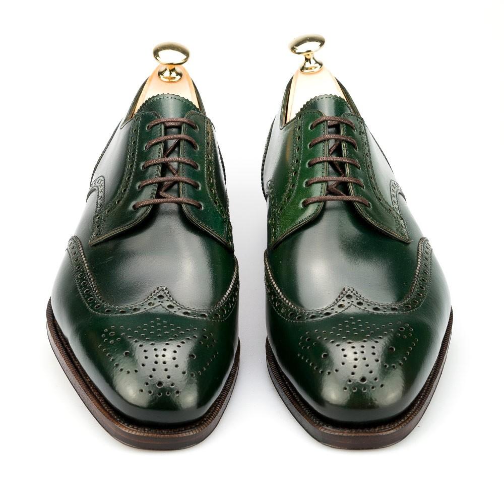 Wingtip Derby Shoes In Green Cordovan Carmina