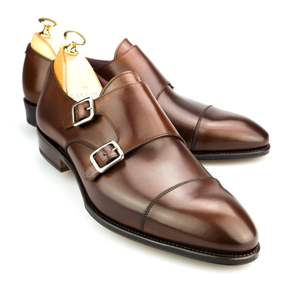 Brown Vegano Leather Double Monk Straps Carmina Shoemaker d4MnylpubZ