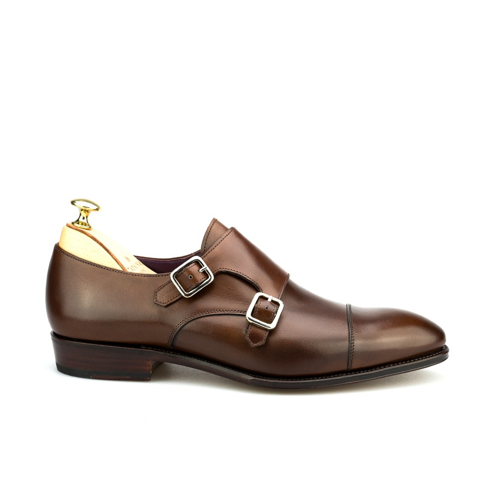 double monk straps shoes in brown