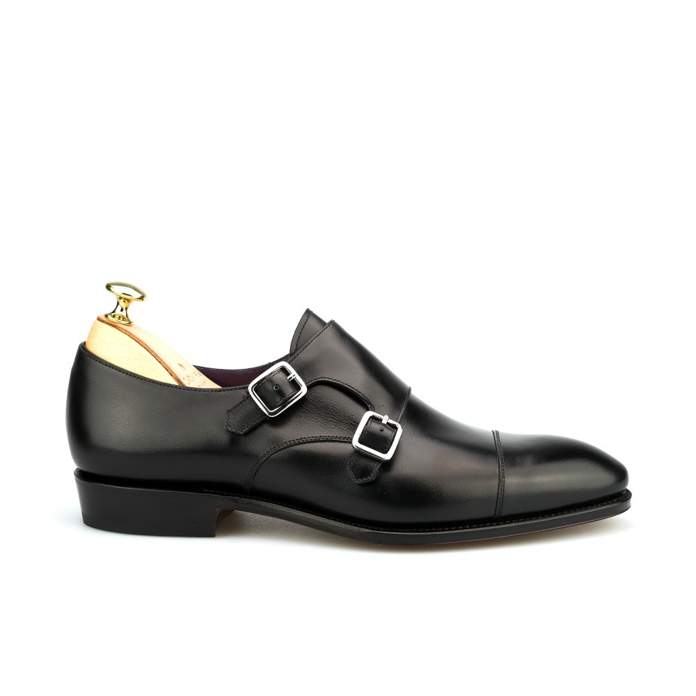 men's double monk straps shoes in black