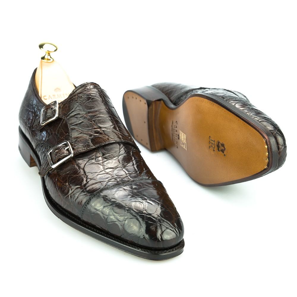 Monk straps shoes in crocodile brown