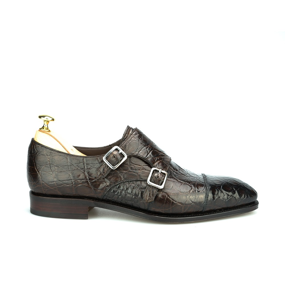 Men's monk straps shoes in brown crocodile
