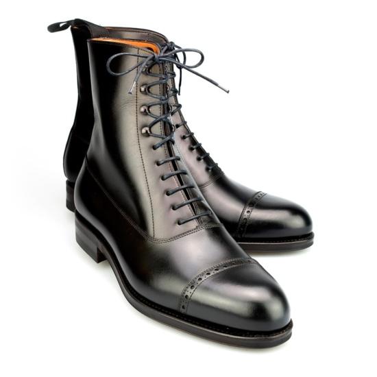 Balmoral Boots In Box Calf Black Carmina