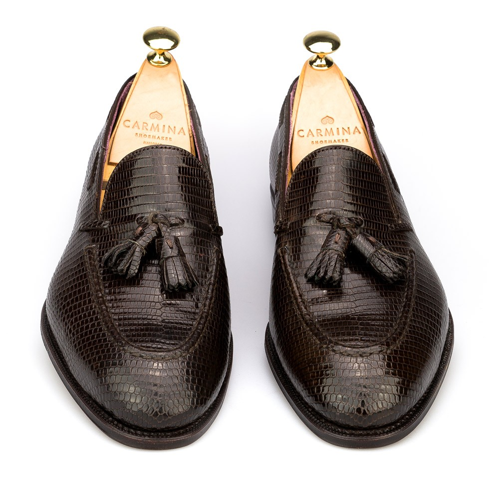 tassel loafers in brown lizard, front view