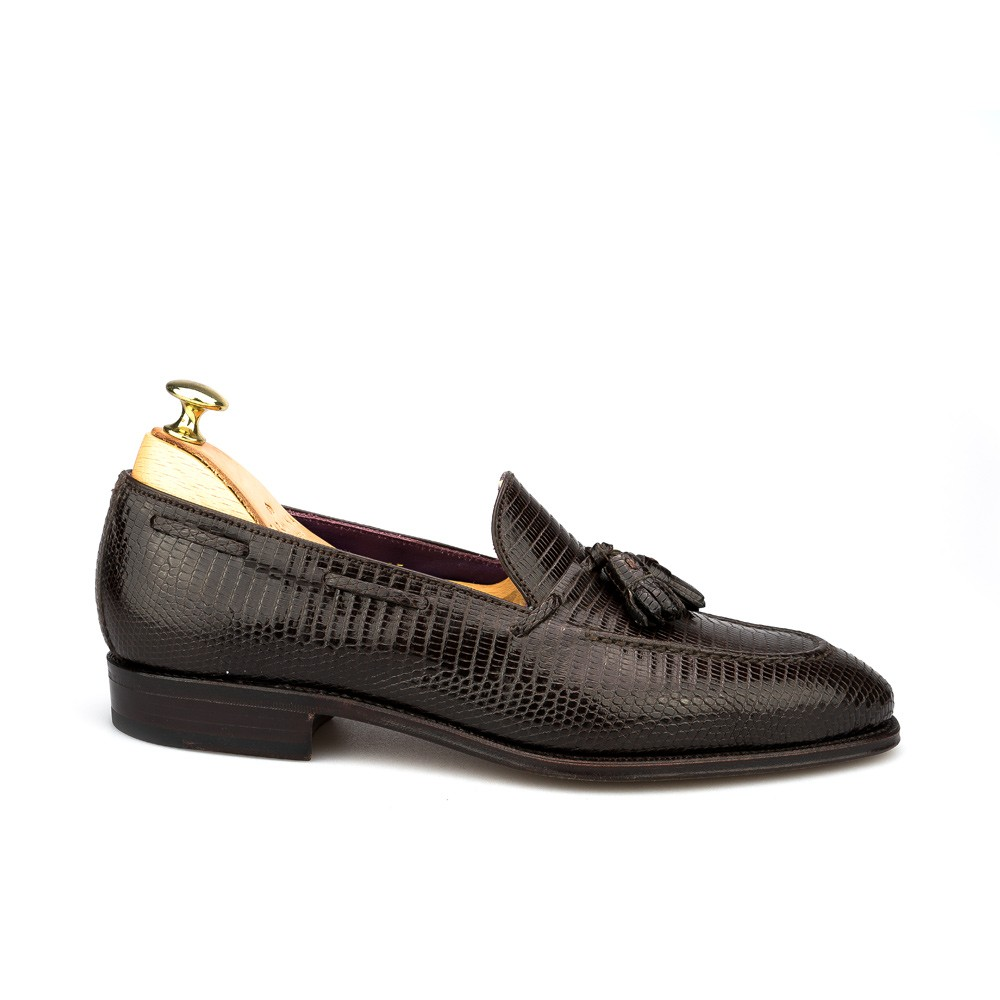 tassel loafers in brown lizard, side view