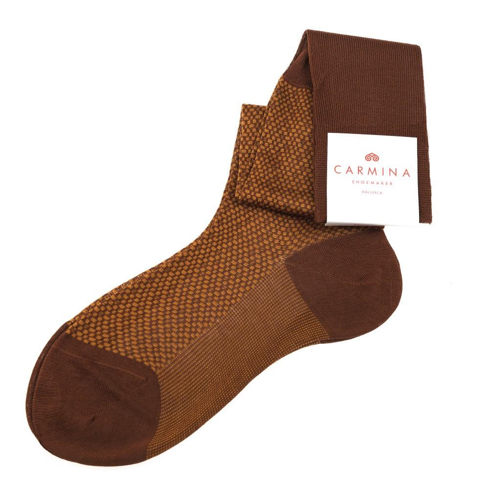 Long brown and ocher socks