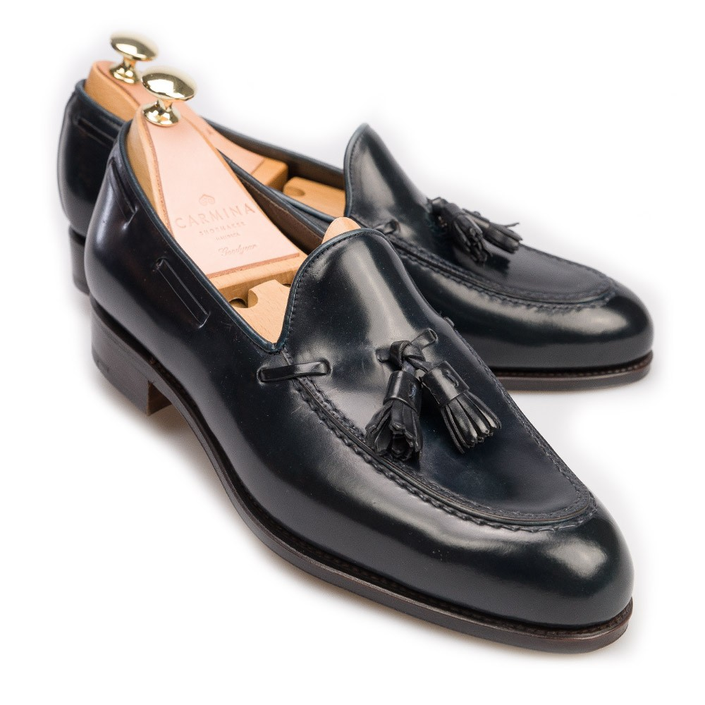 NAVY CORDOVAN TASSEL LOAFERS 734 FOREST