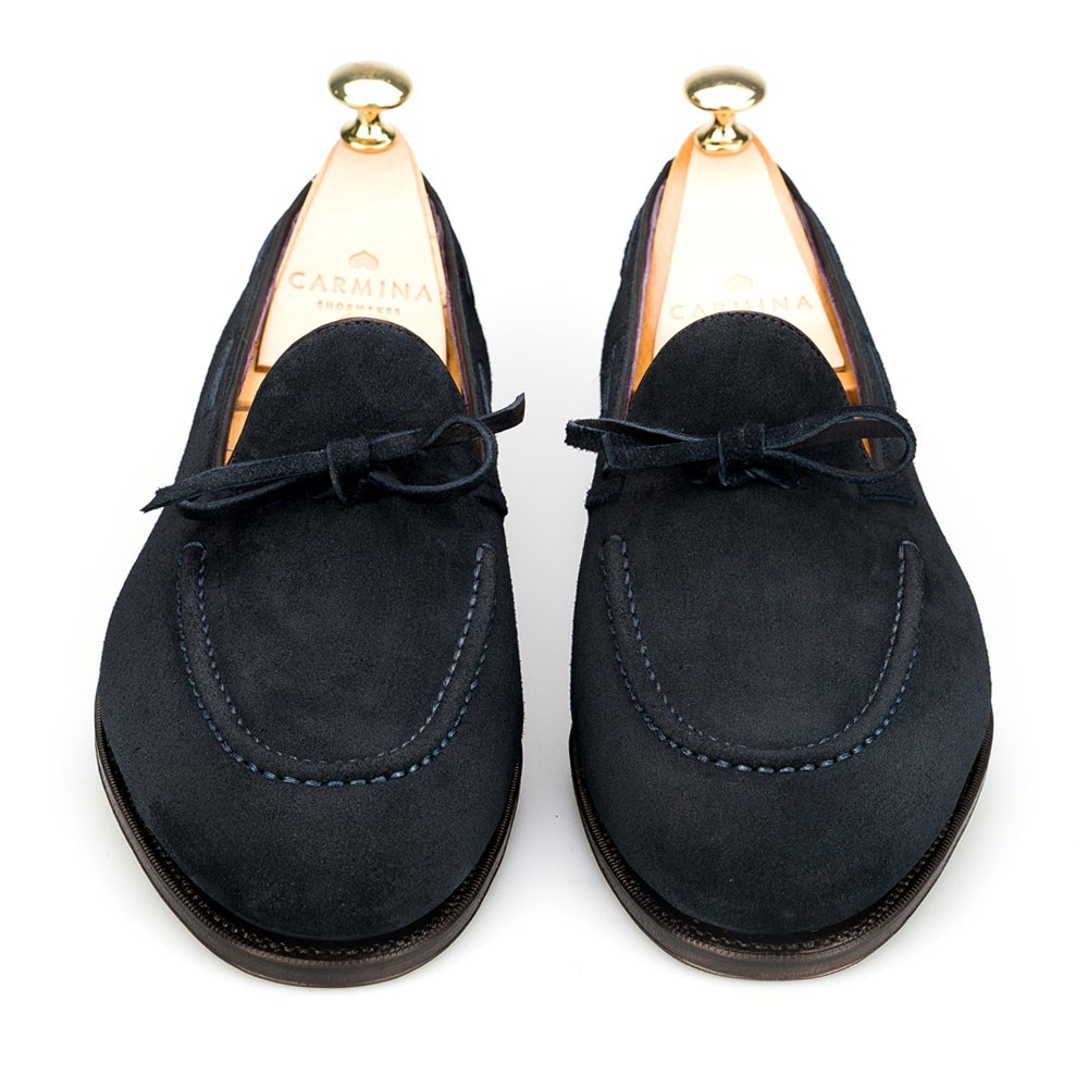 Navy String Dress Loafers Carmina Shoemaker