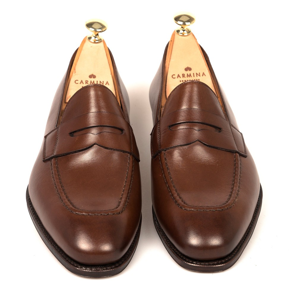 Brown Penny Dress Loafers | CARMINA Shoemaker