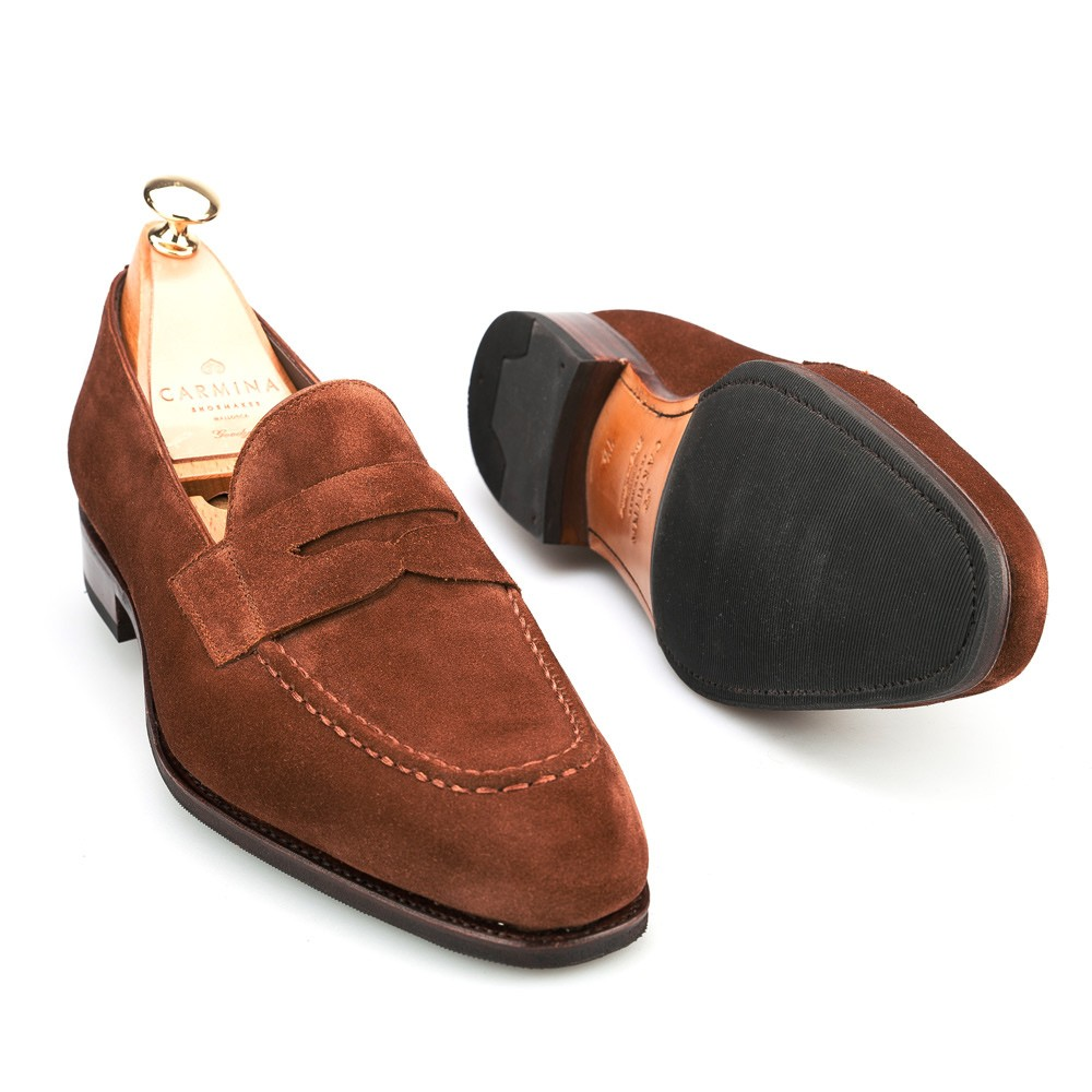 Mens Suede Penny Loafers Carmina Shoemaker