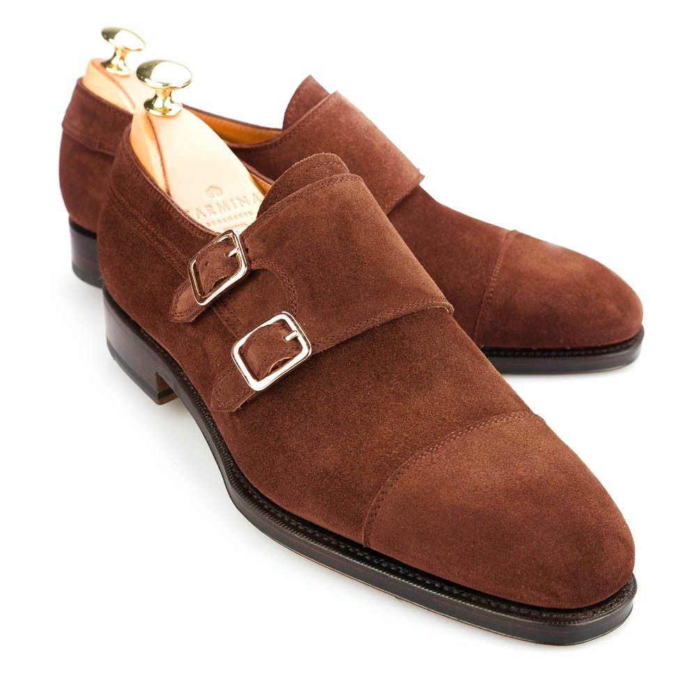 Suede And Leather Double Monk Strap Shoes