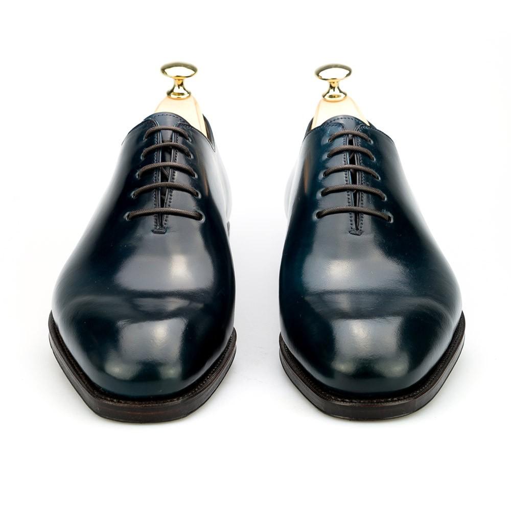 zapato oxford enterizo en cordovan marino
