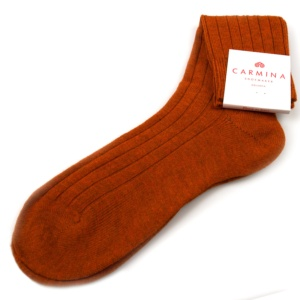 Rust wool & cashmere socks