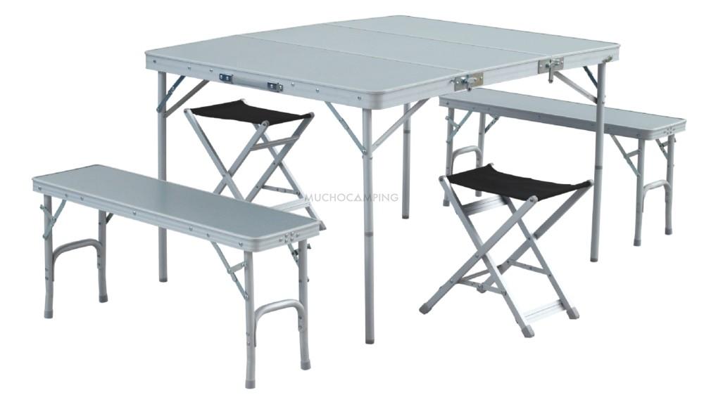 Conjunto mesa plegable banquetas accesorios camping for Mesas plegables para camping