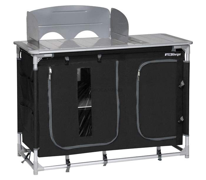 Mueble tubular bigger black cocina camping muchocamping for Mueble cocina en l