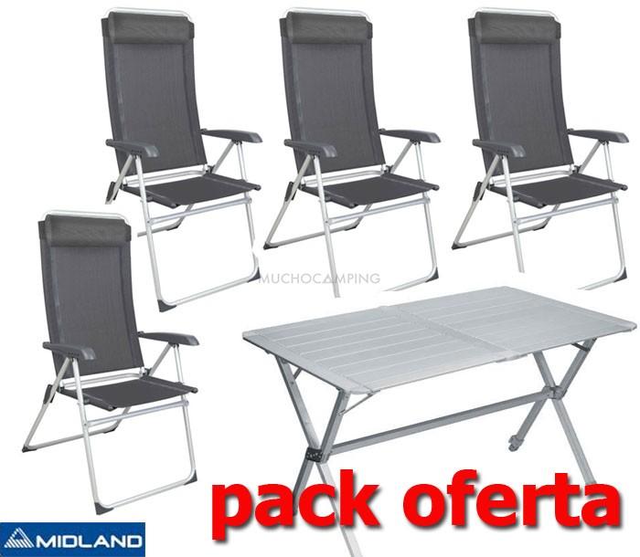 Pack midland mesa camping sillas eco haut muchocamping for Mesa de camping plegable con sillas