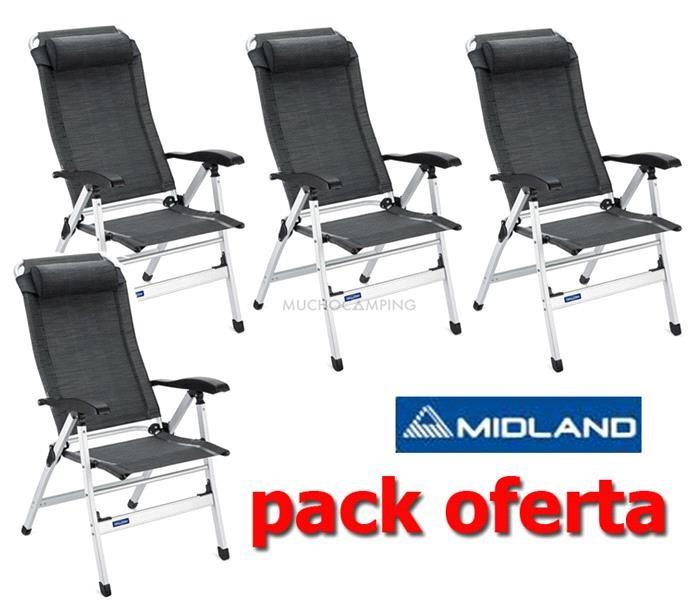 Pack 4 sillas camping midland accesorios camping for Precio sillas reclinables
