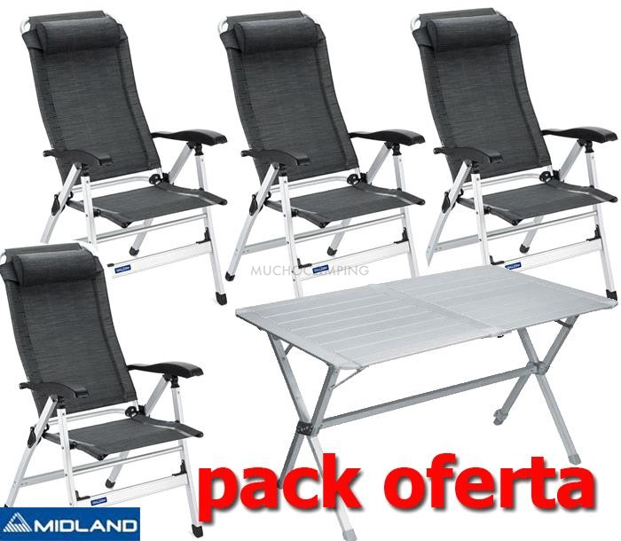 Pack midland mesa camping 4 sillas camping muchocamping for Ofertas en mesas y sillas