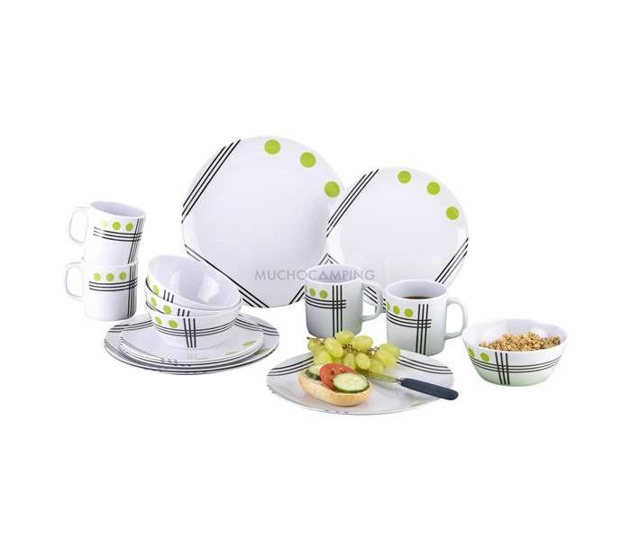 Vajilla melamina top line green cocina camping muchocamping for Outlet de vajillas