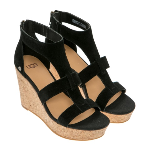 cork wedge sandal, Ugg, Whitney, black suede