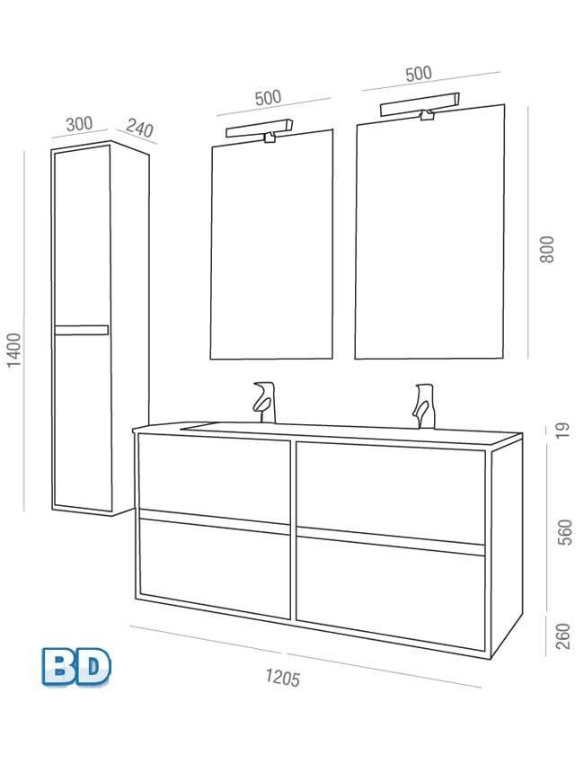 Meuble salle de bain Noja 120 cm de Salgar - Article5
