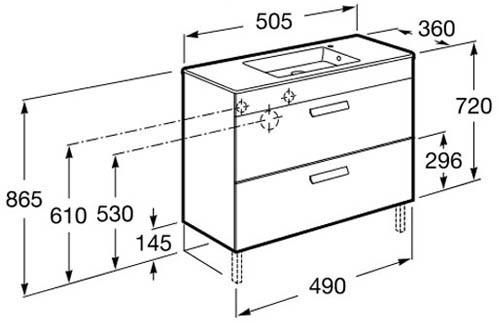 Roca, meubles de salle de bain avec tiroirs, fond réduit - Article6