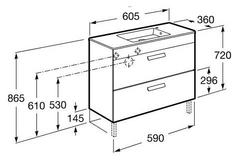 Roca, meubles de salle de bain avec tiroirs, fond réduit - Article7
